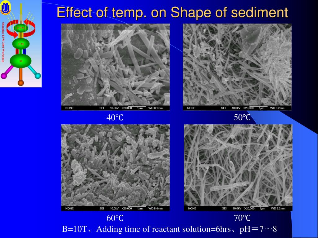 Effect of temp. on Shape of sediment