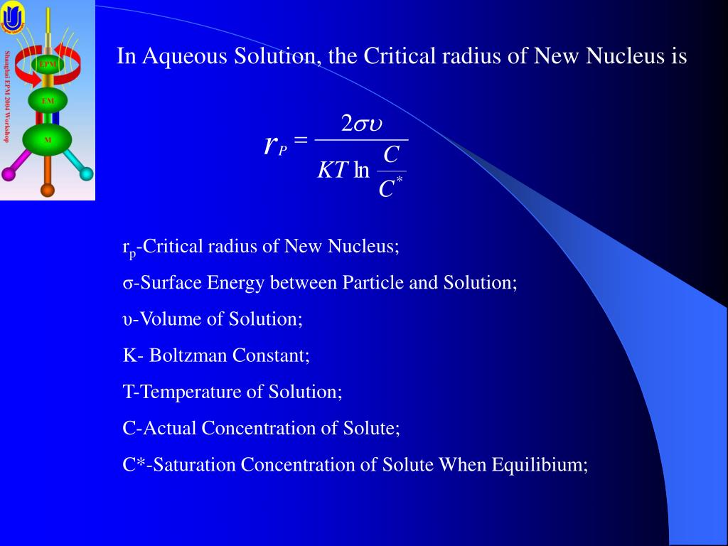 In Aqueous Solution, the Critical radius of New Nucleus is
