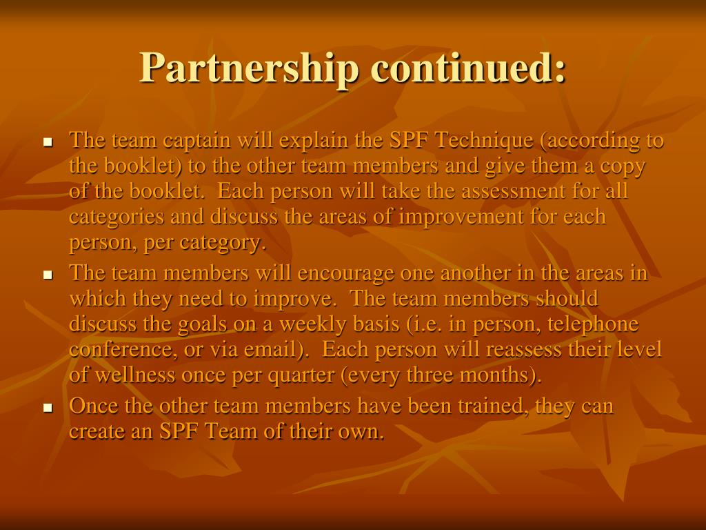 Partnership continued: