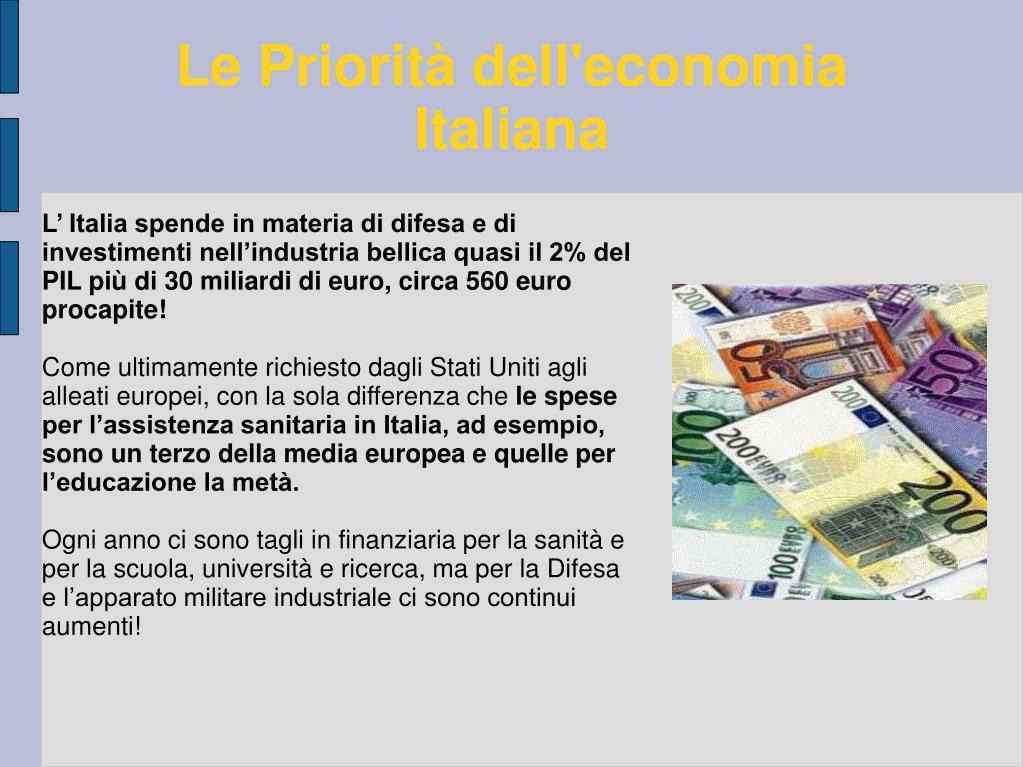 Le Priorità dell'economia Italiana