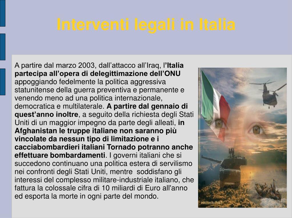 Interventi legali in Italia