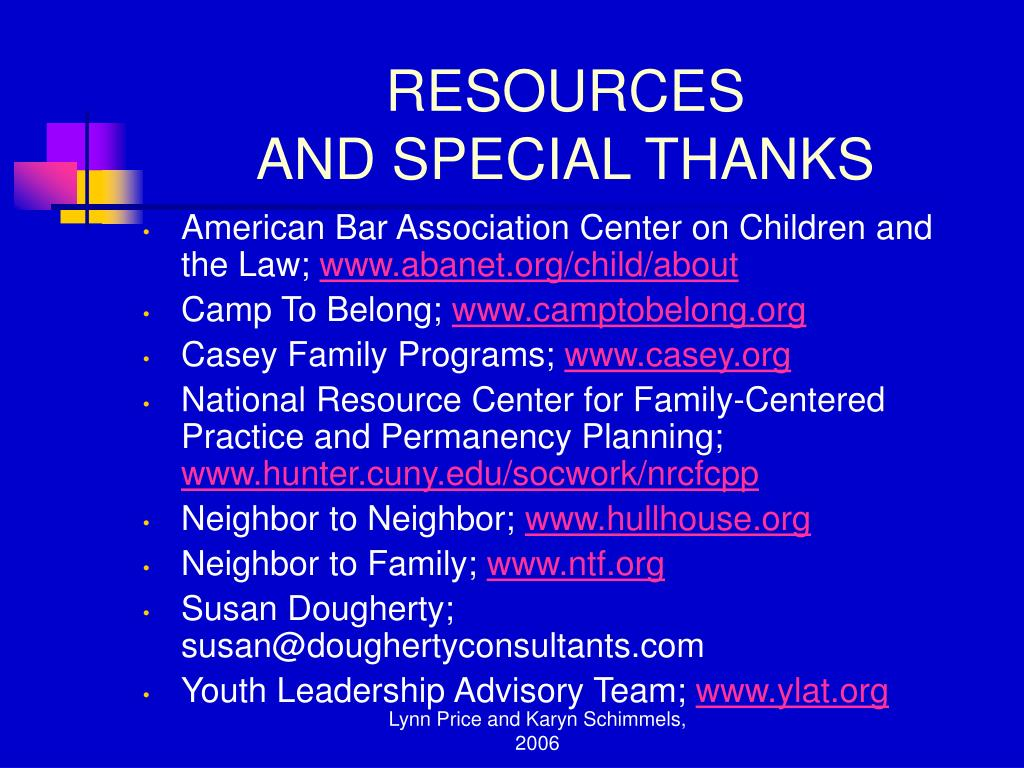 American Bar Association Center on Children and the Law;