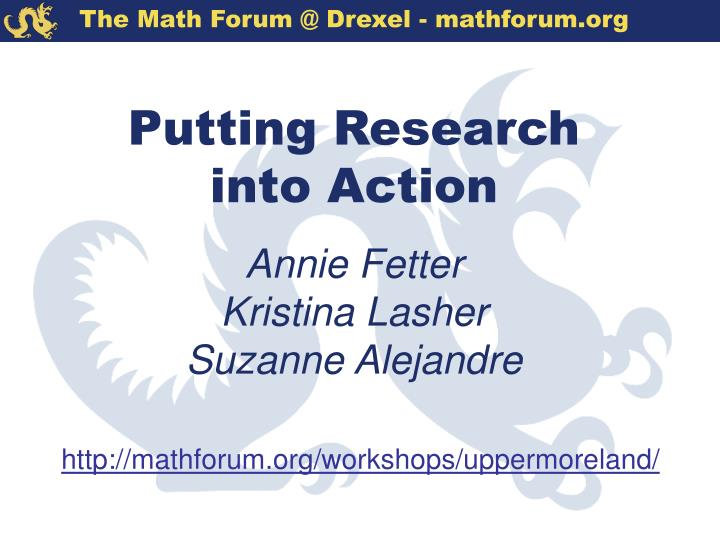 Putting research into action annie fetter kristina lasher suzanne alejandre l.jpg
