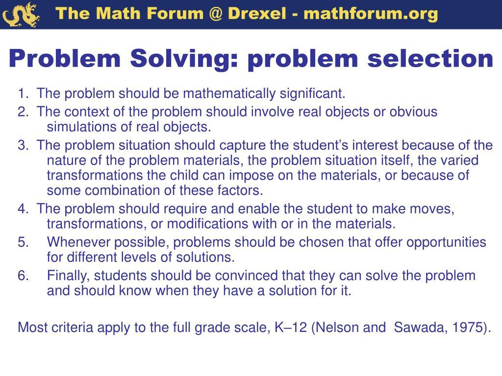 Problem Solving: problem selection