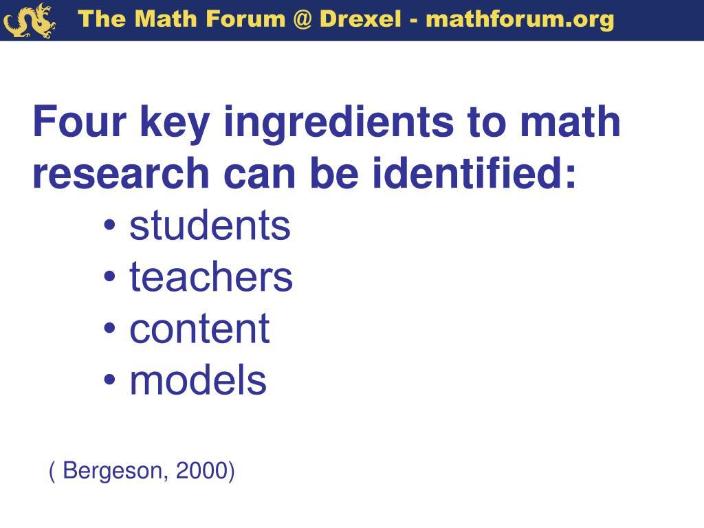 Four key ingredients to math