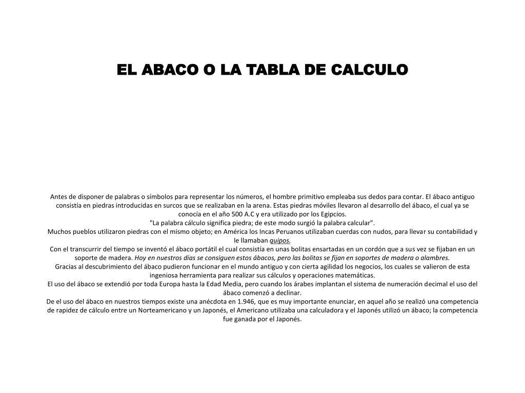 EL ABACO O LA TABLA DE CALCULO