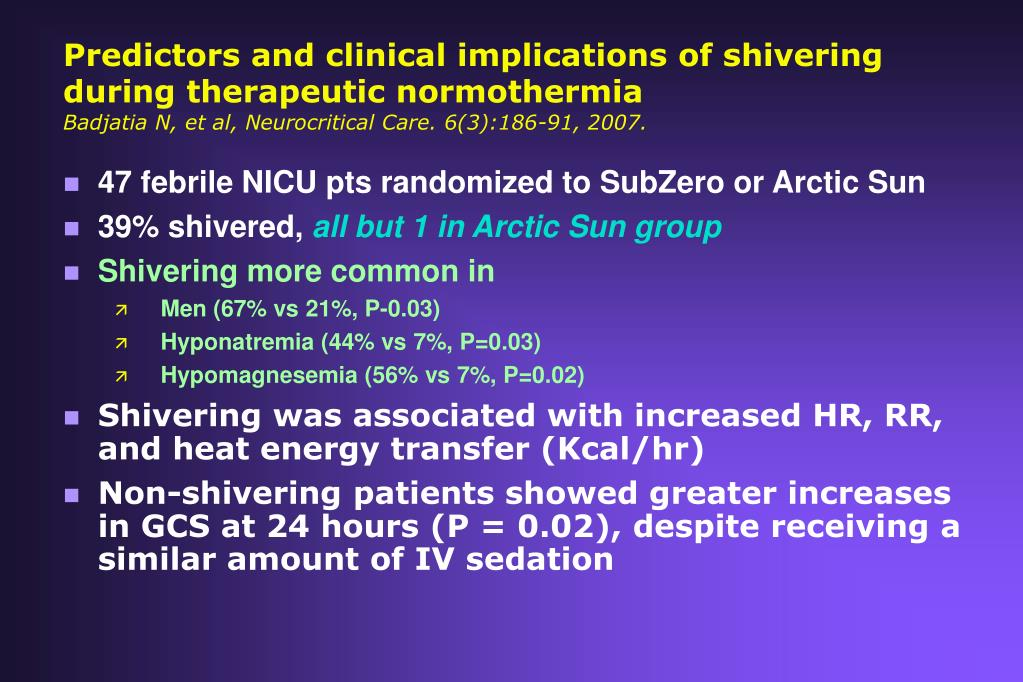 Predictors and clinical implications of shivering during therapeutic normothermia