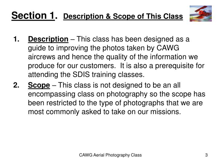 Section 1 description scope of this class
