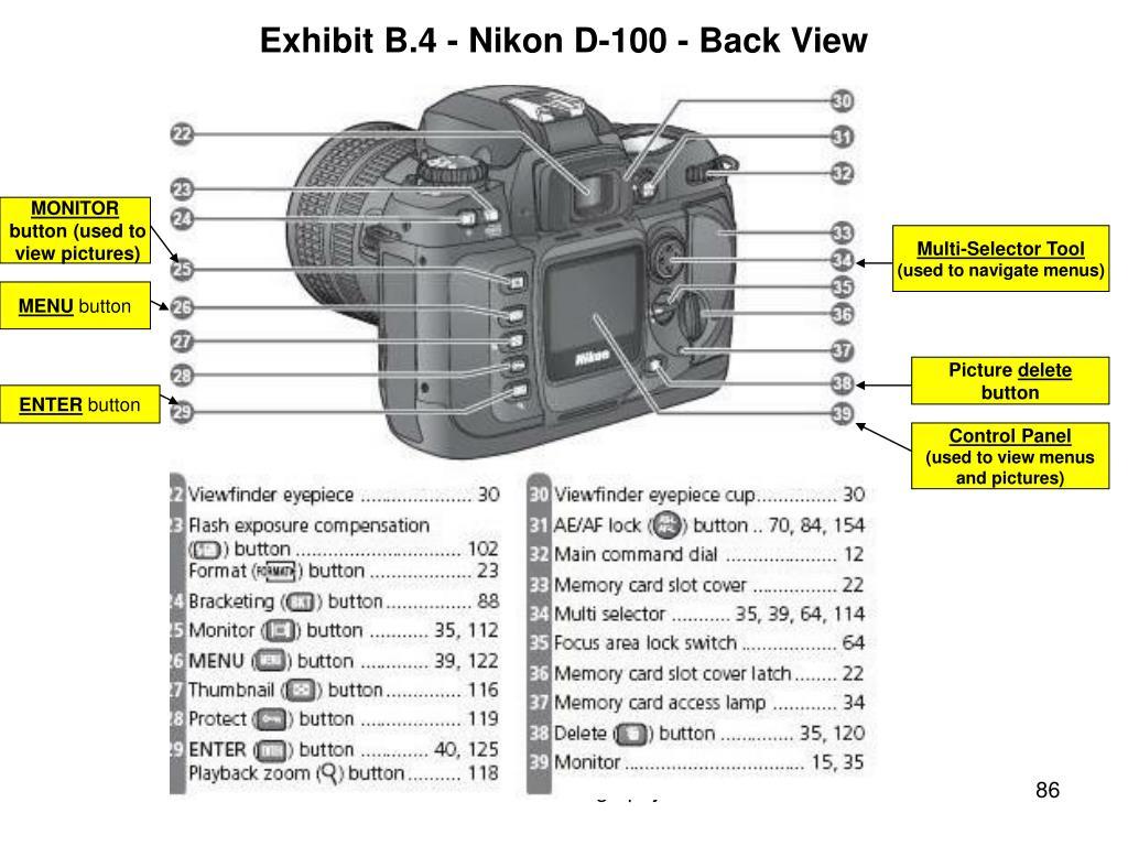 Exhibit B.4 - Nikon D-100 - Back View