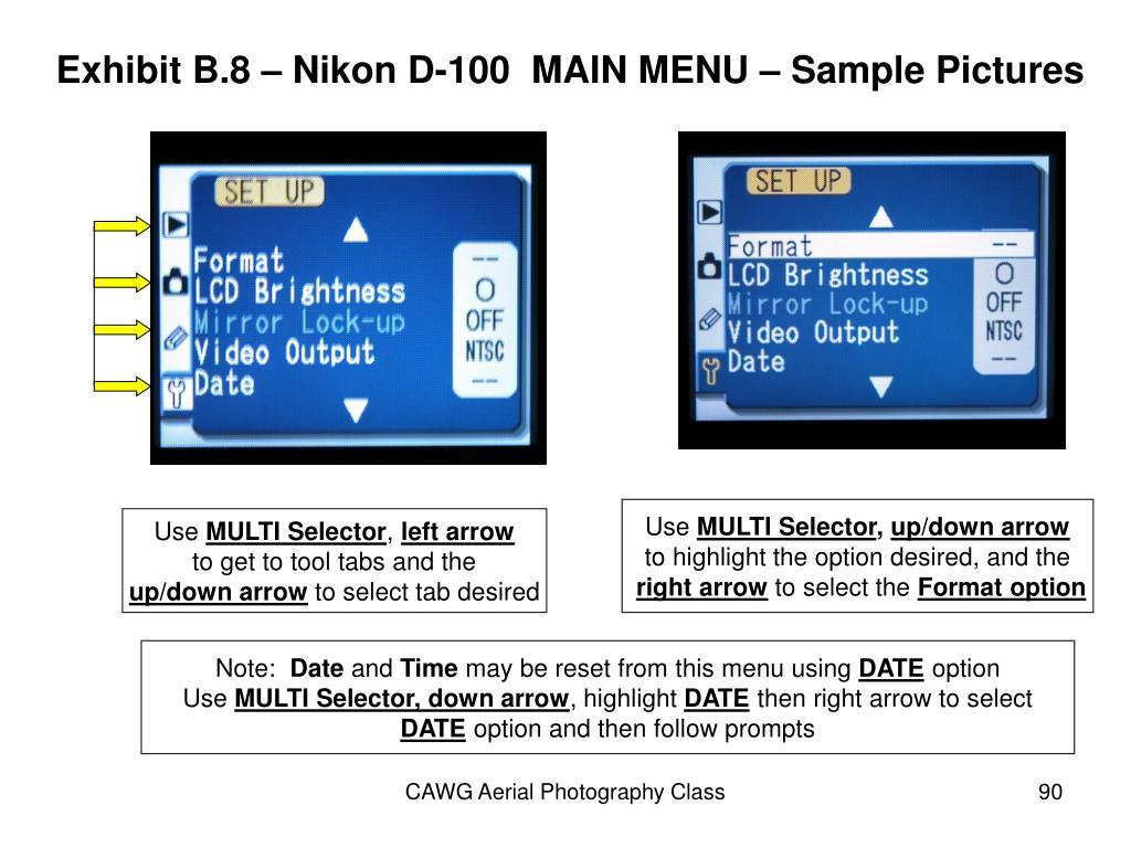 Exhibit B.8 – Nikon D-100  MAIN MENU – Sample Pictures