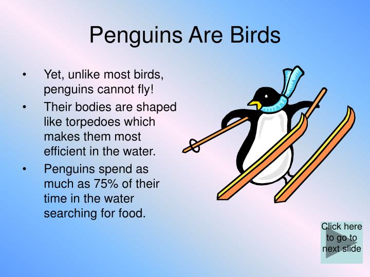 Penguins are birds