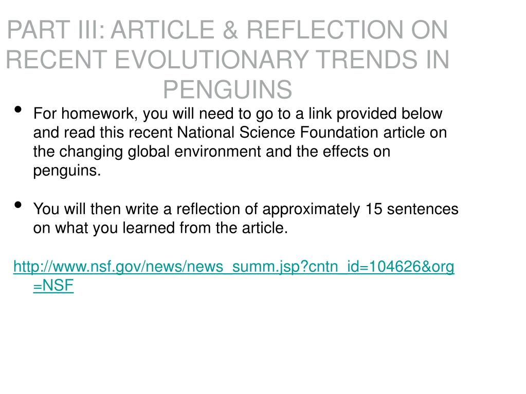 PART III: ARTICLE & REFLECTION ON RECENT EVOLUTIONARY TRENDS IN PENGUINS