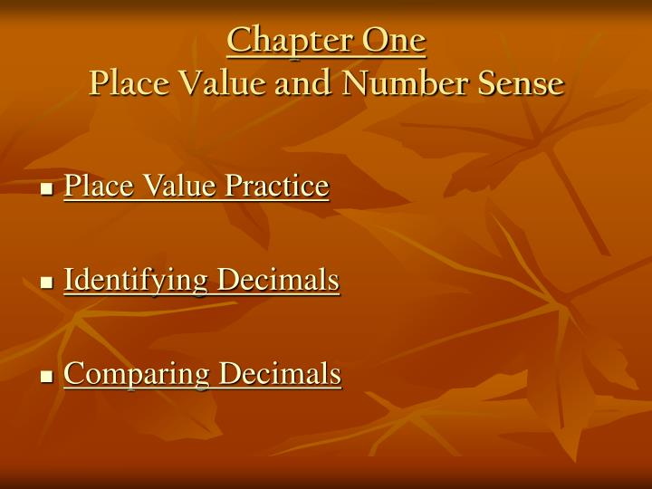 Chapter one place value and number sense