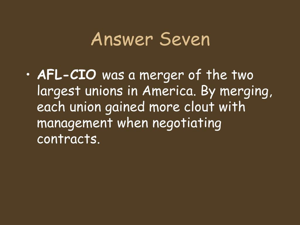 Answer Seven