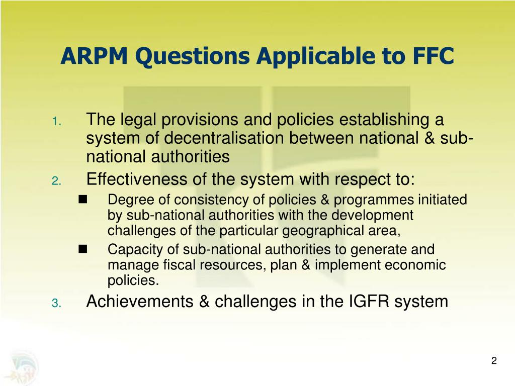 ARPM Questions Applicable to FFC