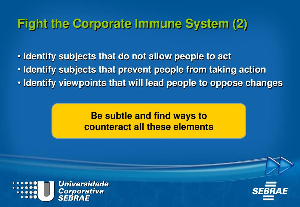 Fight the Corporate Immune System (2)