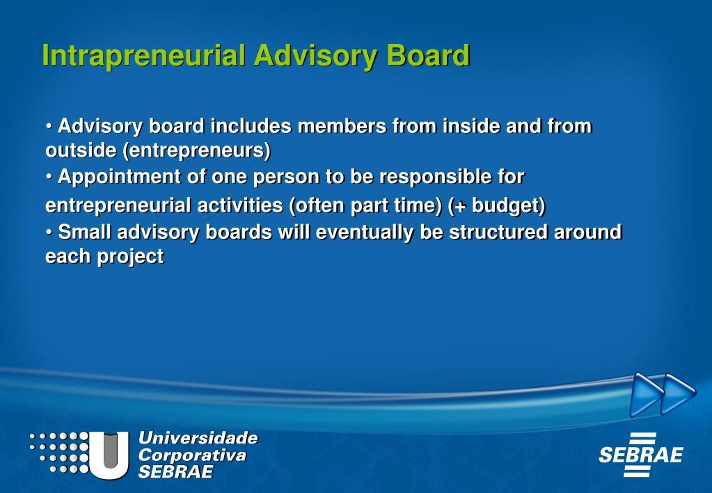 Intrapreneurial Advisory Board