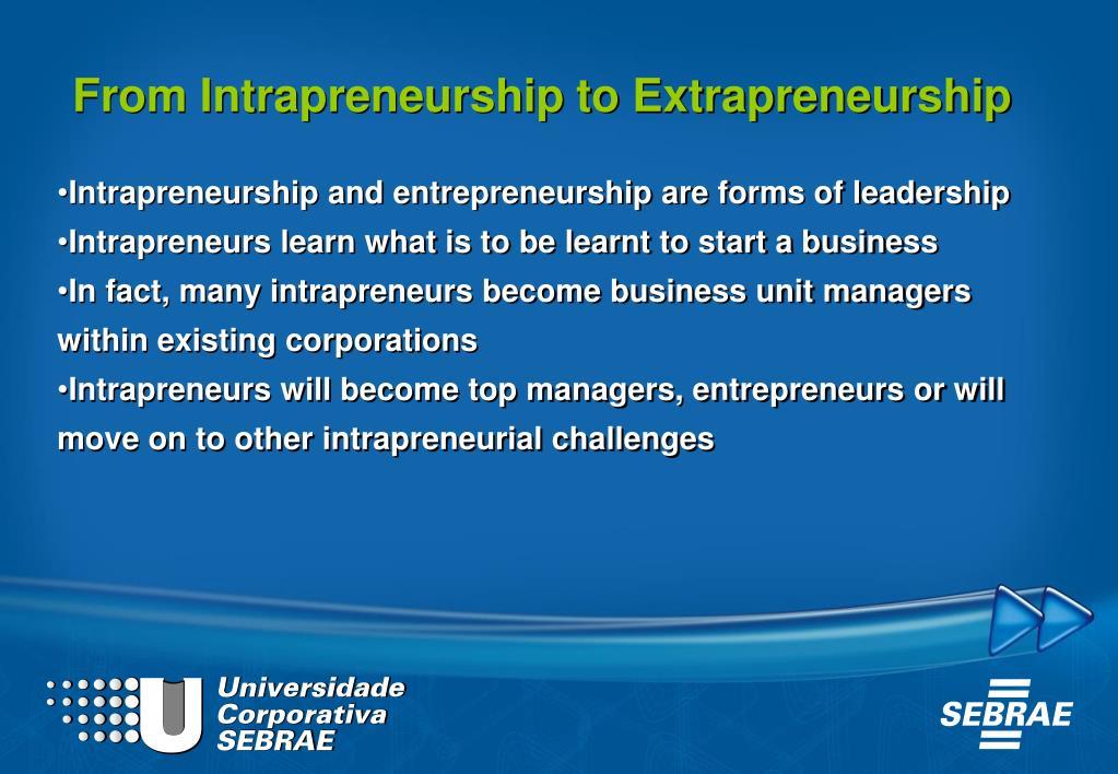 From Intrapreneurship to Extrapreneurship