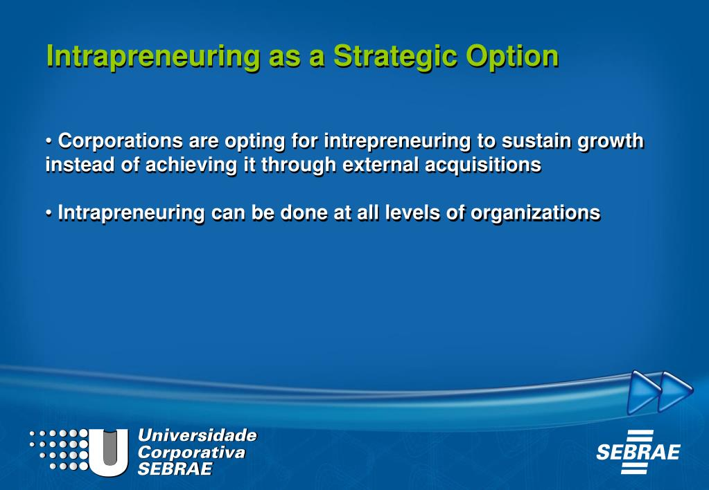 Intrapreneuring as a Strategic Option