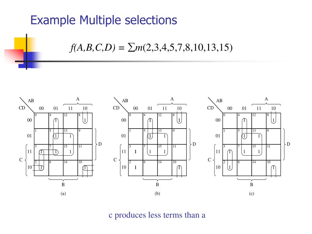Example Multiple selections