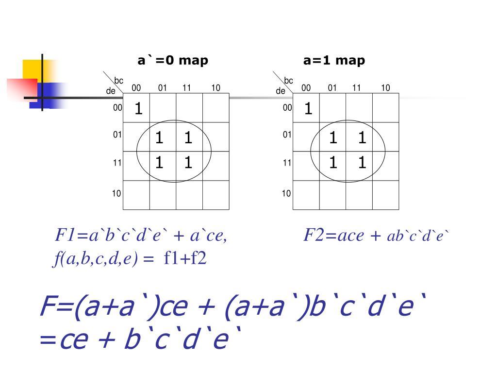 F=(a+a`)ce + (a+a`)b`c`d`e`
