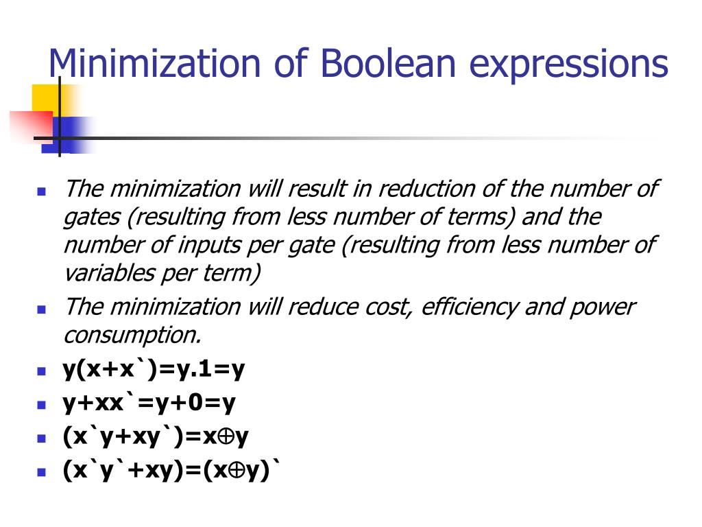 Minimization of Boolean expressions