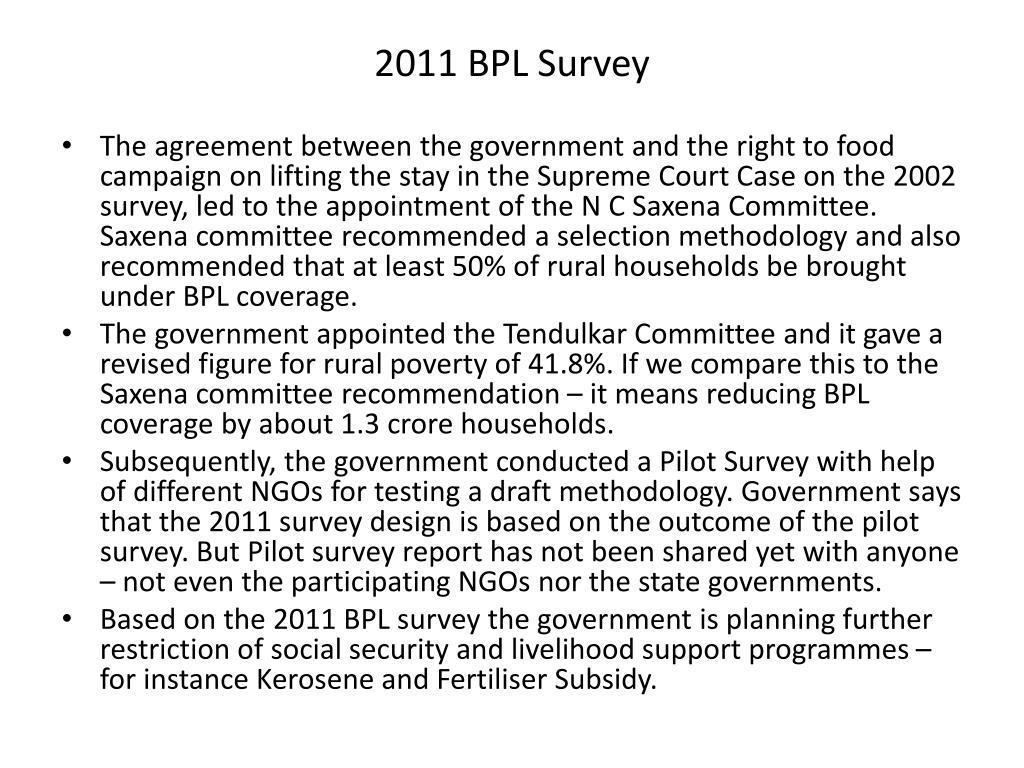 2011 BPL Survey