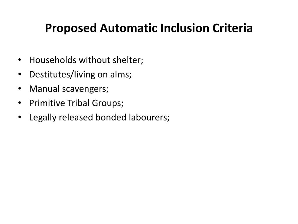 Proposed Automatic Inclusion Criteria