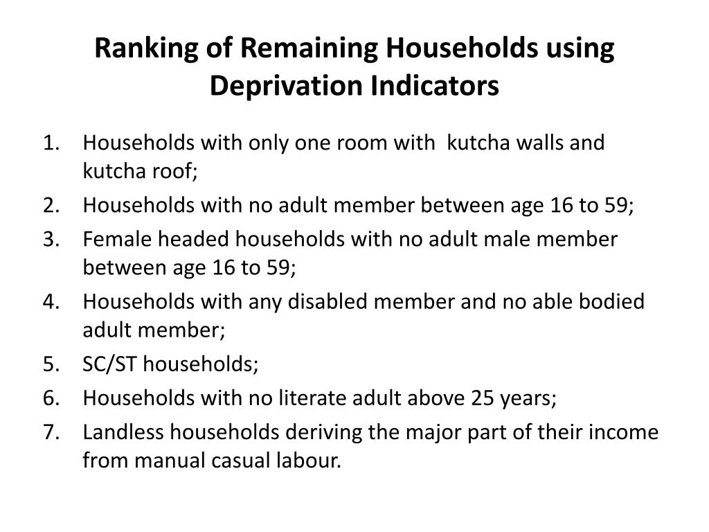Ranking of Remaining Households using Deprivation Indicators