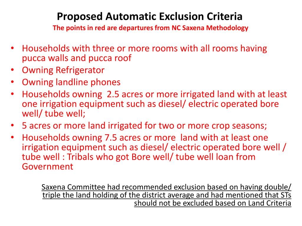 Proposed Automatic Exclusion Criteria
