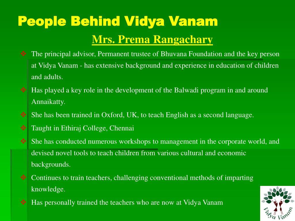 People Behind Vidya Vanam