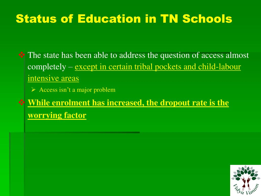 Status of Education in TN Schools