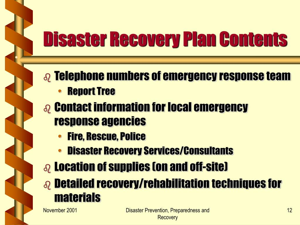 Disaster Recovery Plan Contents