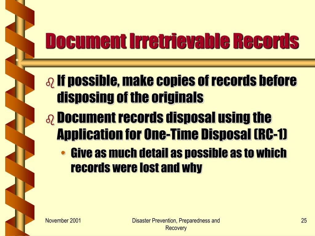 Document Irretrievable Records
