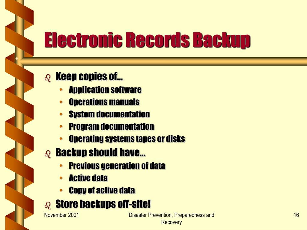 Electronic Records Backup