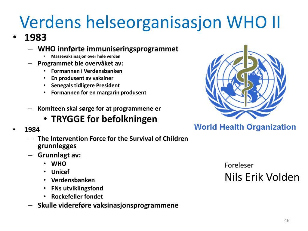 Verdens helseorganisasjon WHO II