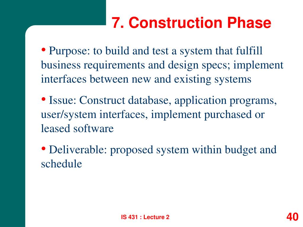 7. Construction Phase