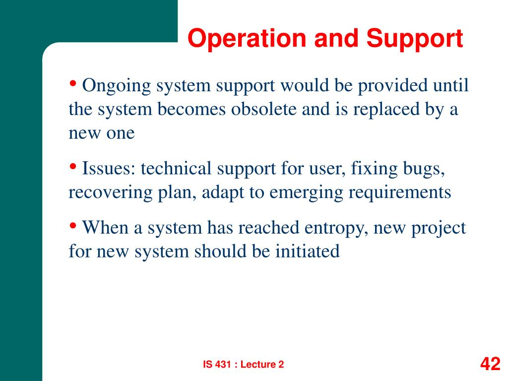 Operation and Support