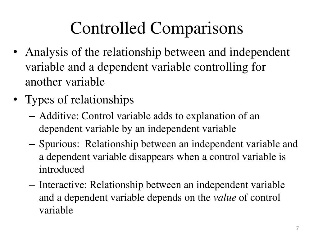 Controlled Comparisons