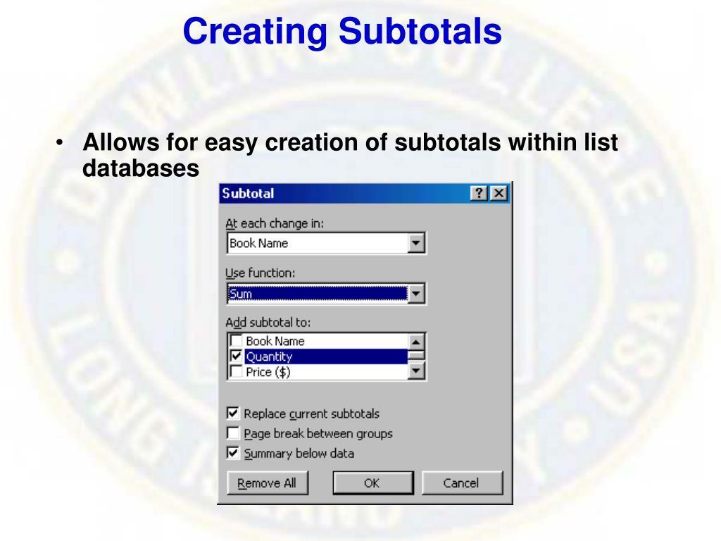 Creating Subtotals
