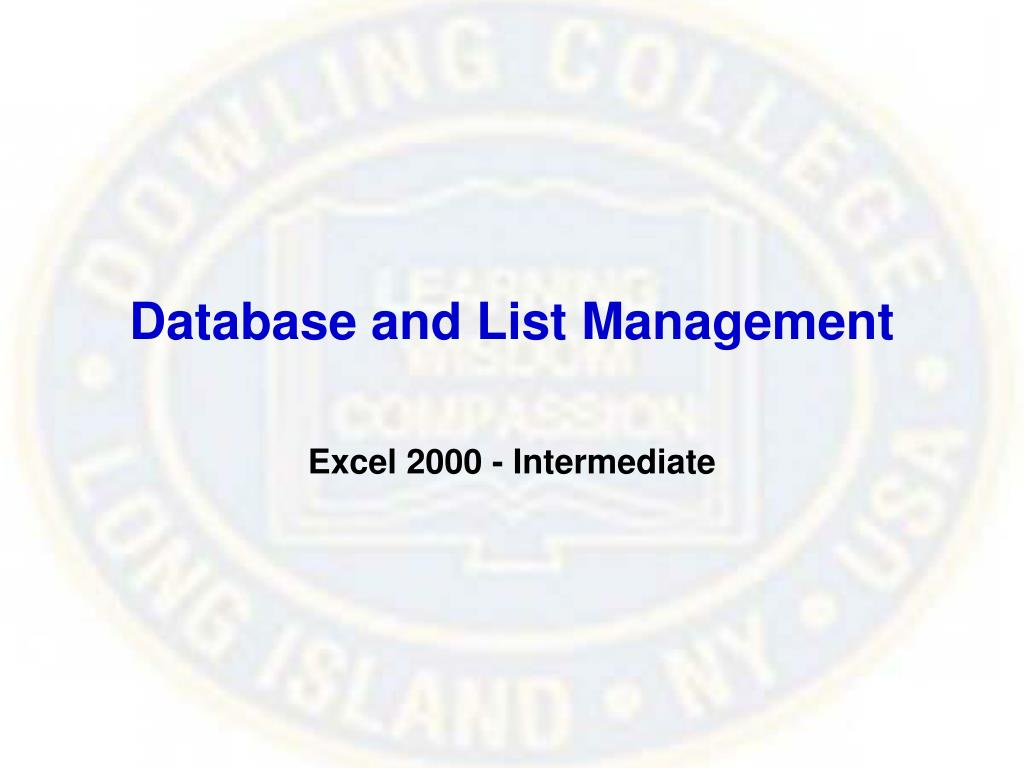 Database and List Management
