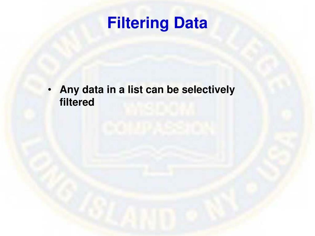 Filtering Data