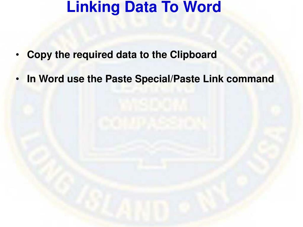 Linking Data To Word