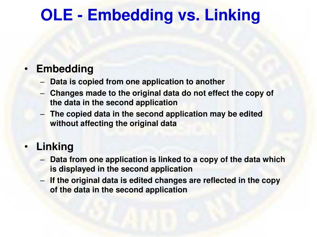 OLE - Embedding vs. Linking