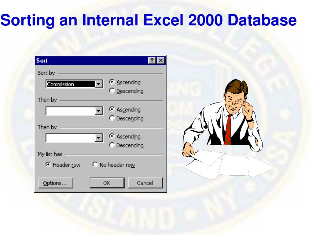 Sorting an Internal Excel 2000 Database