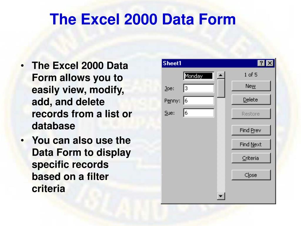 The Excel 2000 Data Form