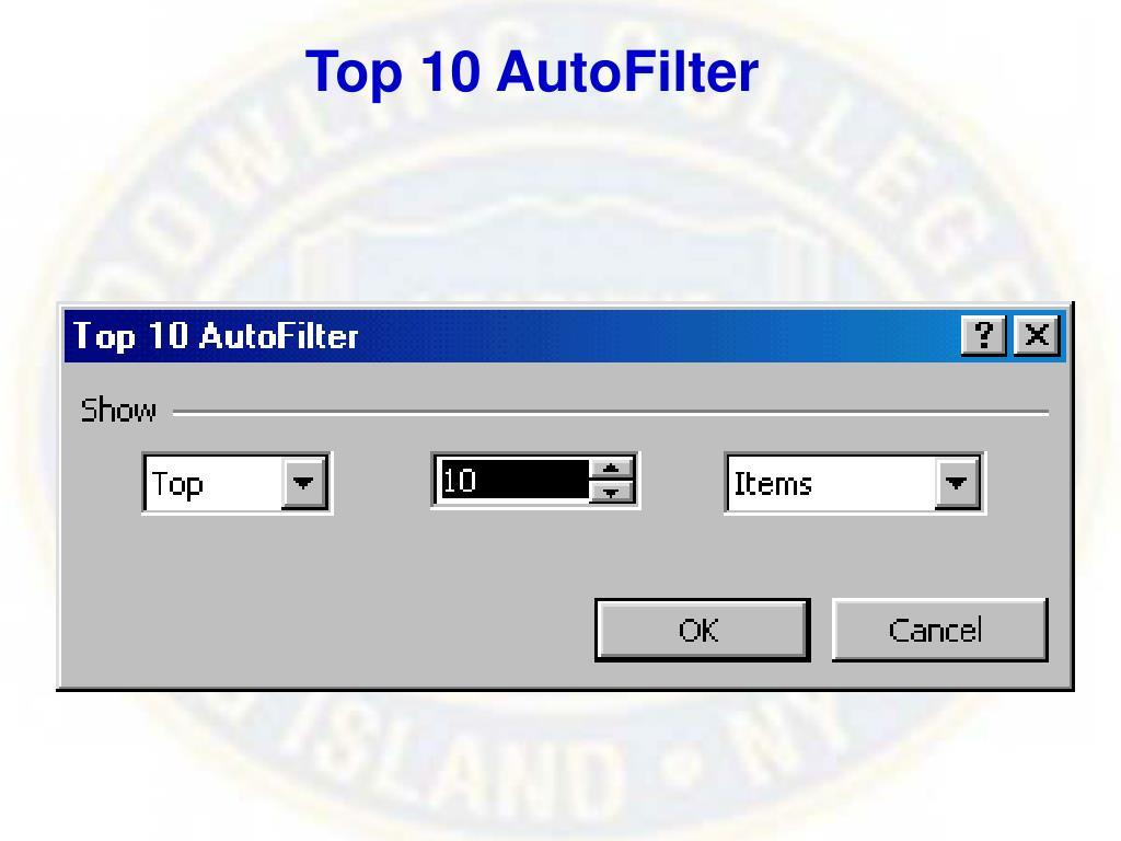 Top 10 AutoFilter