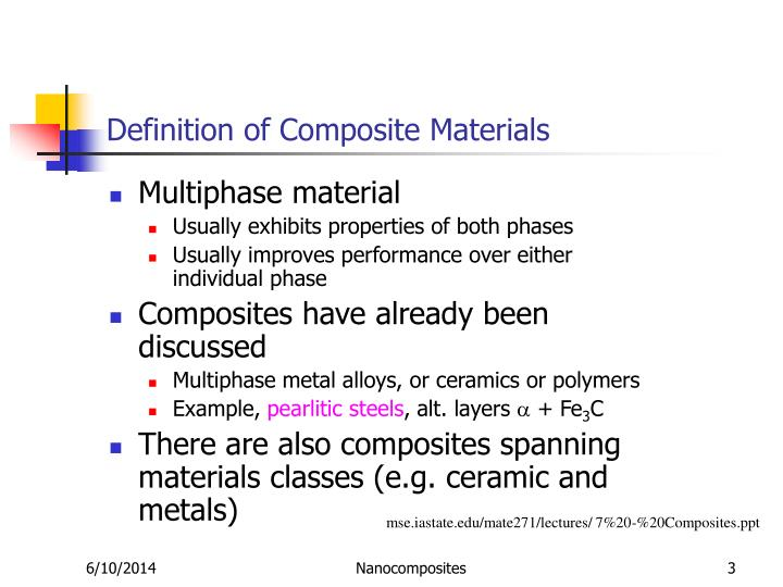 Definition of composite materials