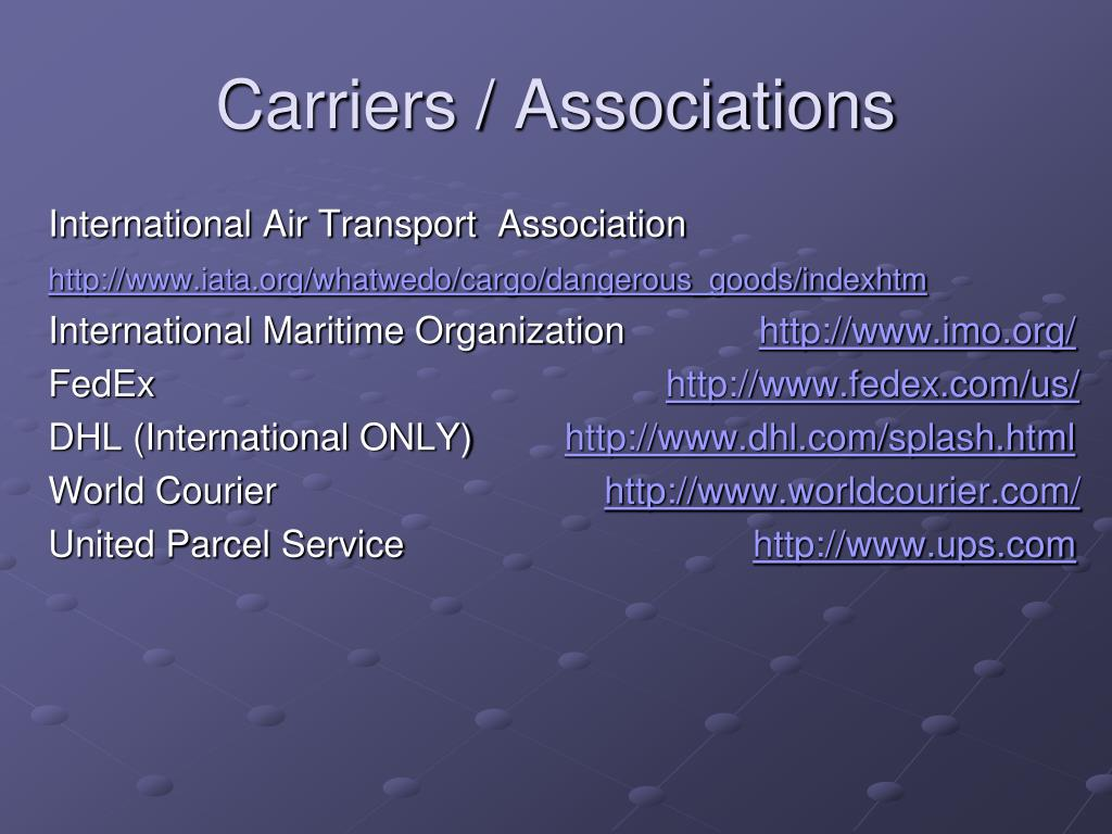 Carriers / Associations