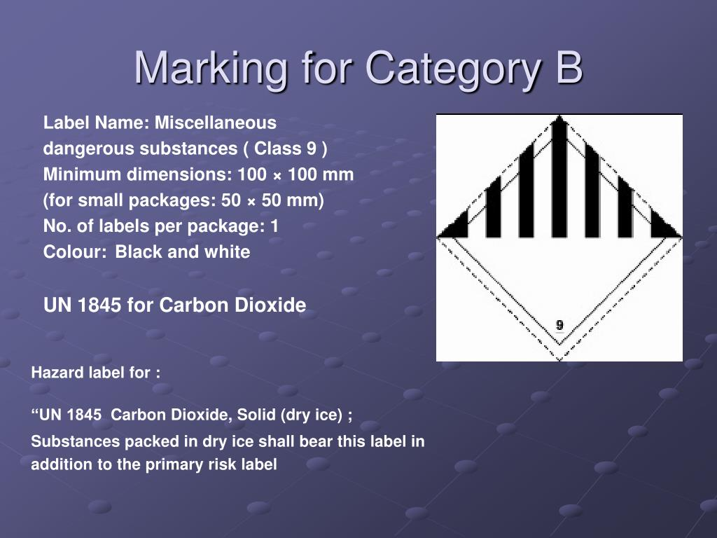 Marking for Category B